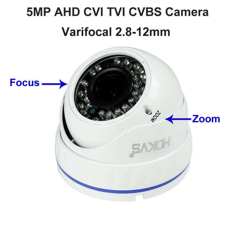TVI CVI AHD 5.0 MP HD CCTV Security Camera Indoor Dome 2.8-12mm Zoom